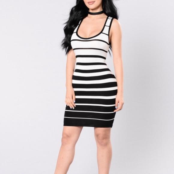 e378b6c2292 Black and white stripes dress from fashion nova